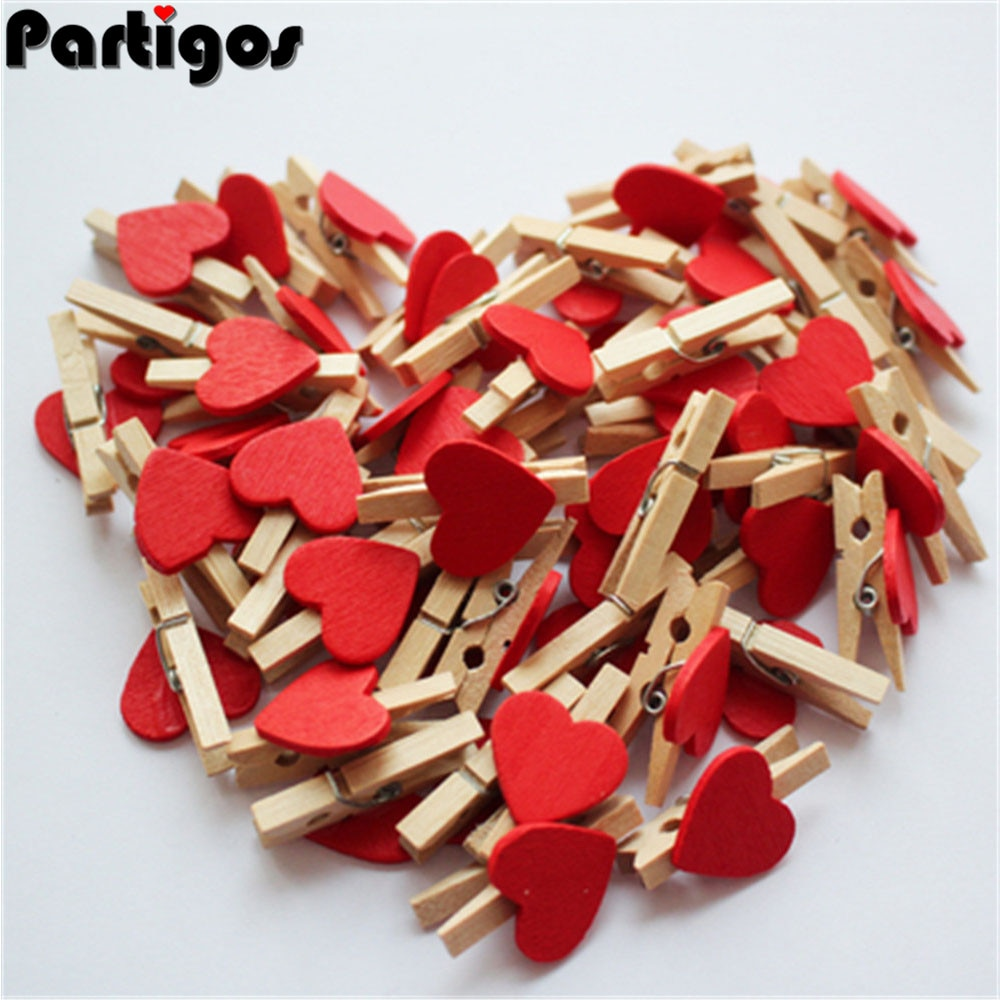 aliexpress.com - 50pcs/lot Red Heart Love Wooden Clothes Photo Paper Peg Pin Mini Clothespin Postcard Clips Home Wedding Decoration Stationery