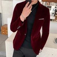 burgundy velvet blazer men 2020 fashion casual blazer men wedding groom singer costume slim blazer formal evening dress m 5xl