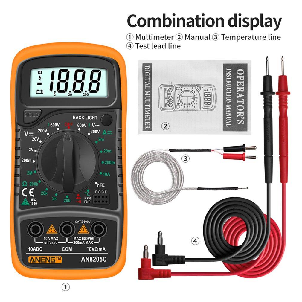 ANENG AN8205C multímetro Digital AC/DC amperímetro de prueba de ohmios de profesión...