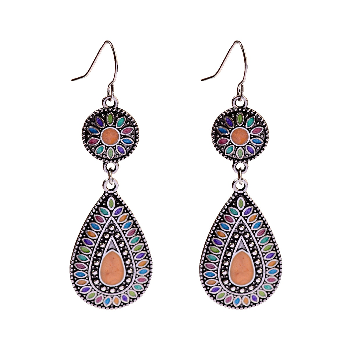DOUVEI Bohemian Vintage Colorful Water Drop Earring Nepal India Jewelry Zinc Alloy Ethnic Earrings For Women Party Gift