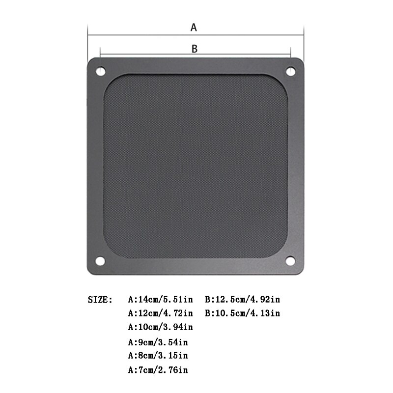 Magnetic Dust Filter Dustproof Mesh Fan Cover Net Grill Guard with Hole for PC Computer Case Cooling Fan Accessories