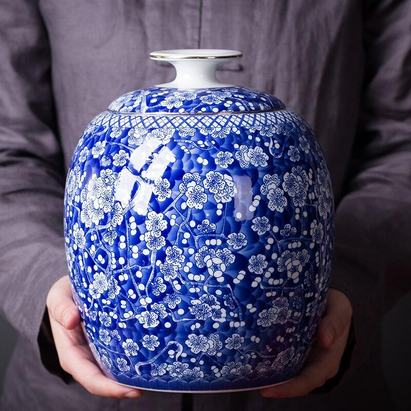 الإبداعية الأزرق والأبيض الخزف الشاي العلبة السيراميك زهرة زهرية سعة كبيرة مختومة تخزين جرة الجوز برطمان للحلوى ديكور المنزل