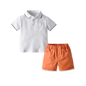 Little Boy's Short-sleeved and Shorts Set Fresh Solid Color Lapel  T-Shirt and Elastic Short Pants