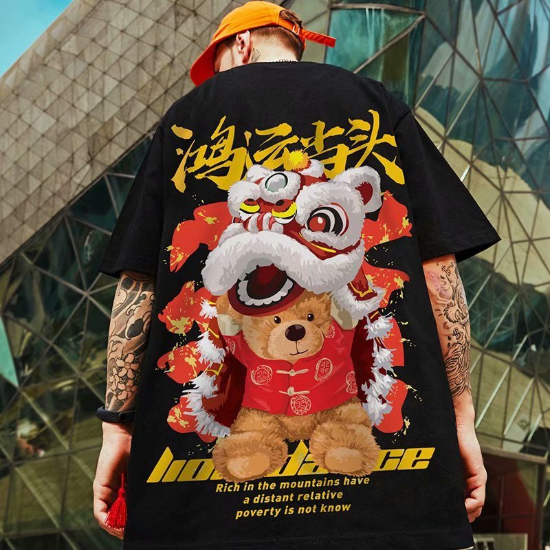 aliexpress.com - 2021 Summer Fashion Oversize Short Sleeved Men T-Shirt Loose Lucky Cat Anime Print Fat Plus Size Men's T Shirt Couples Top 8XL