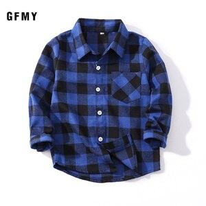 GFMY2021 Spring Autumn Fashion Casual 100% Cotton Full Sleeve Children Plaid Boys Shirt 2T-14T Casual Big Kid Clothes Kids Coat