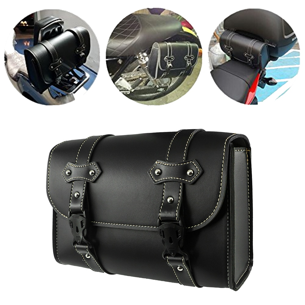 For Harley Dyna Softail Touring Sportster XL883 XL1200 Leather PU Moto Bags Saddlebag Tool Suitcase Saddle Side Waterproof Bag