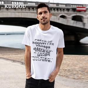 KUEGOU 100% Cotton Tee High Quality Clothing Men's T-shirt Short Sleeve Letter Print Streetwear Summer Top Plus Size ZT-90002
