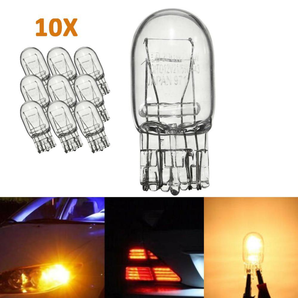 T20 W21 7443, luz de señal clara, cristal claro, 5W, DRL, doble filamento, Bombilla de coche, luz de coche (10 uds)