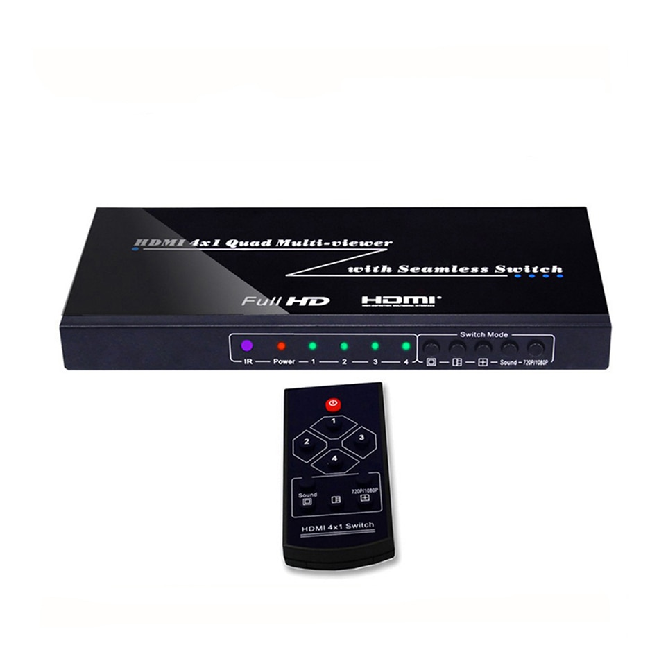 4ch color video digital color quad splitter processor with vga out for cctv security system with bnc switcher splitter HDMI Multiviewer 4X1 Quad Multi-Viewer Splitter with Seamless Switcher IR Control Output resolution up to 1080p