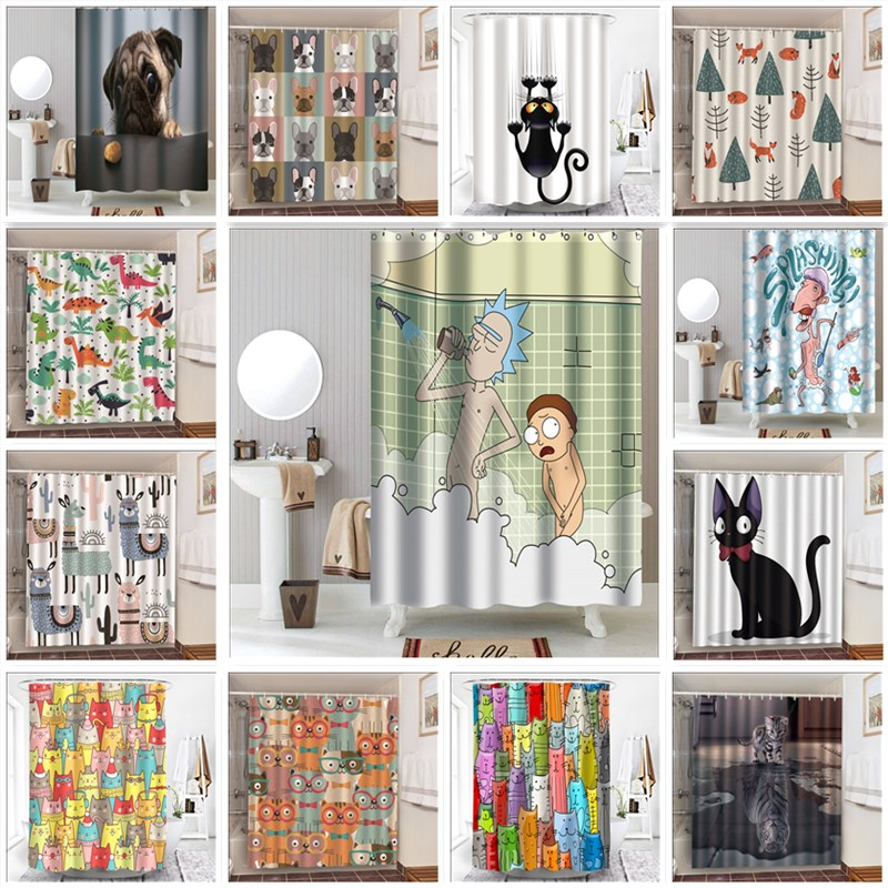New Waterproof Cartoon Animal Shower Curtain Polyester Cat Alpaca Little Boy Showering Bath Decoration Curtains In The Bathroom