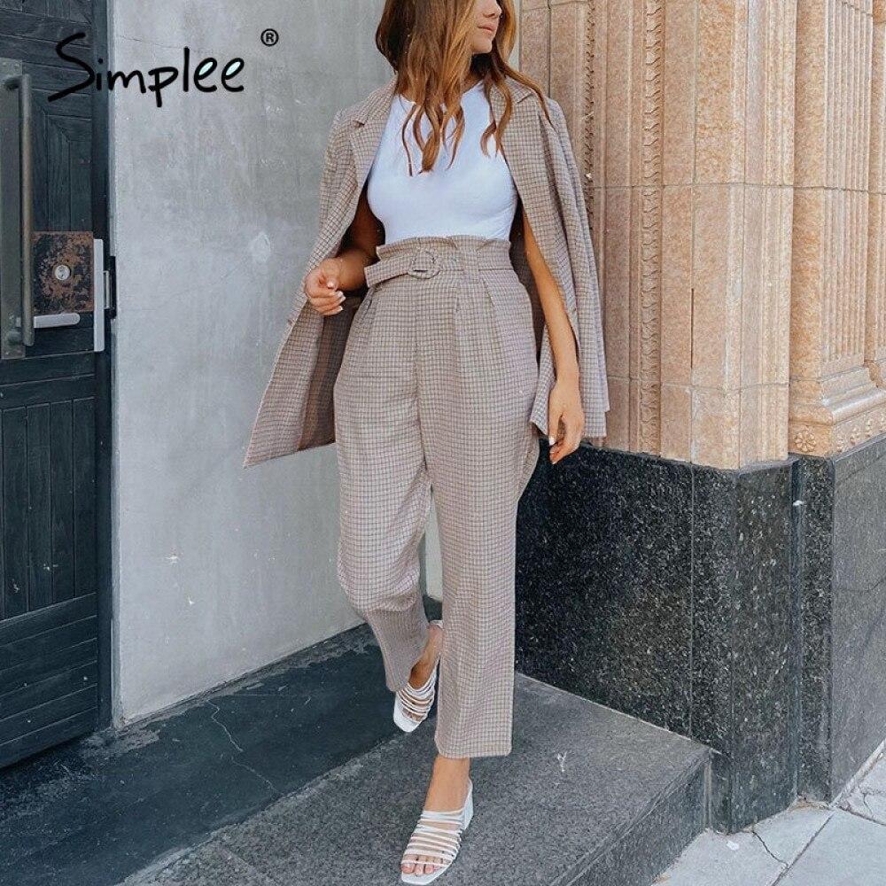 Simplee الأزياء منقوشة المرأة السترة الدعاوى طويلة الأكمام واحدة الصدر حزام سترة السراويل مجموعة مكتب السيدات اثنين قطعة سترة مجموعات