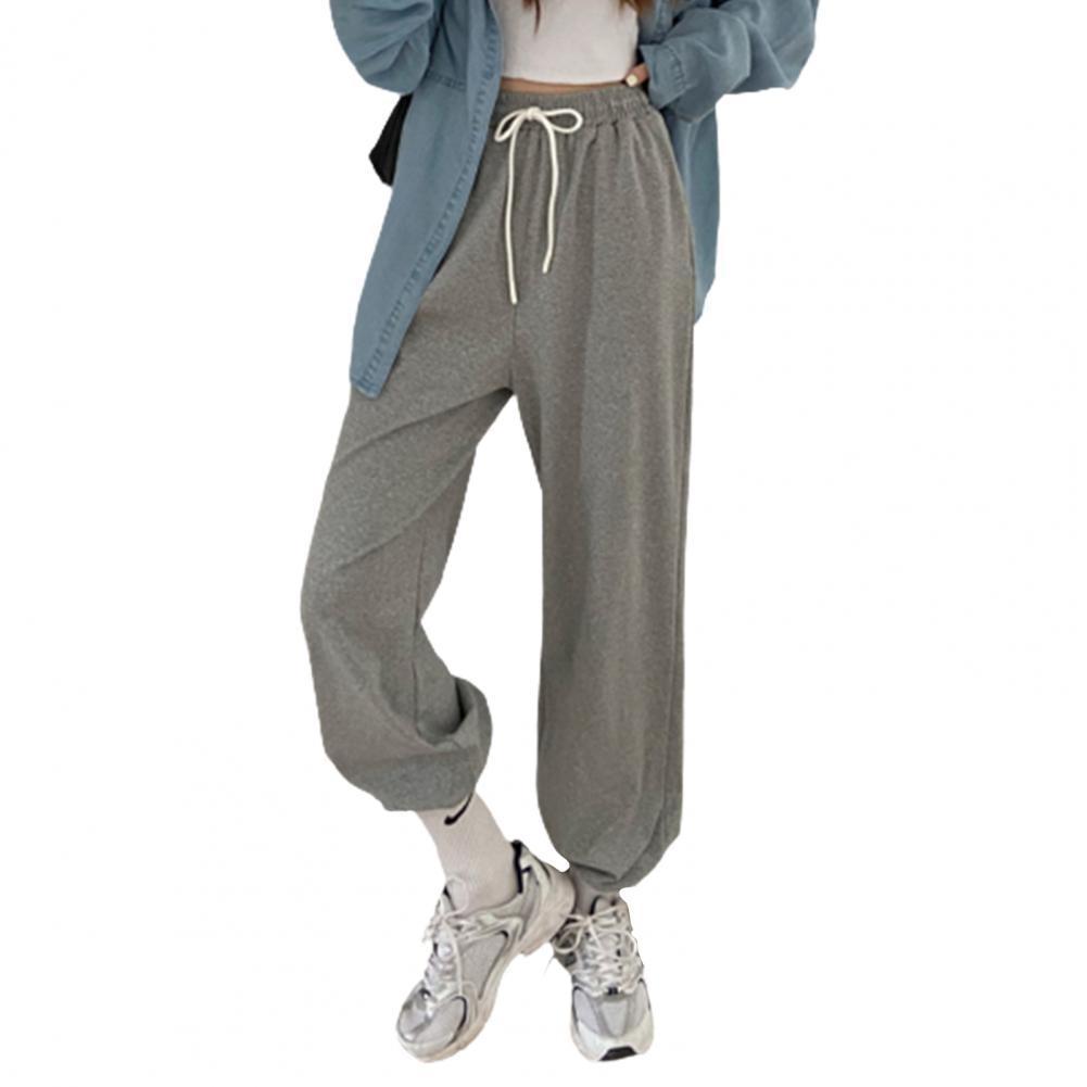 Pantalones de harén largos con cordón para mujer, calzas deportivas de Color...