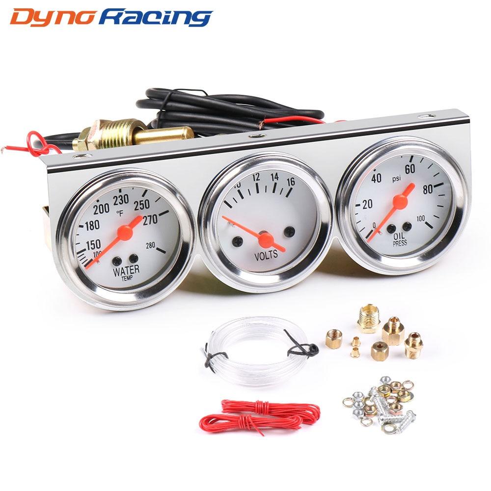 Chrome 2inch 52MM Triple gauge kit Volt meter Water temp Temperature gauge Oil press Pressure Gauge Car meter