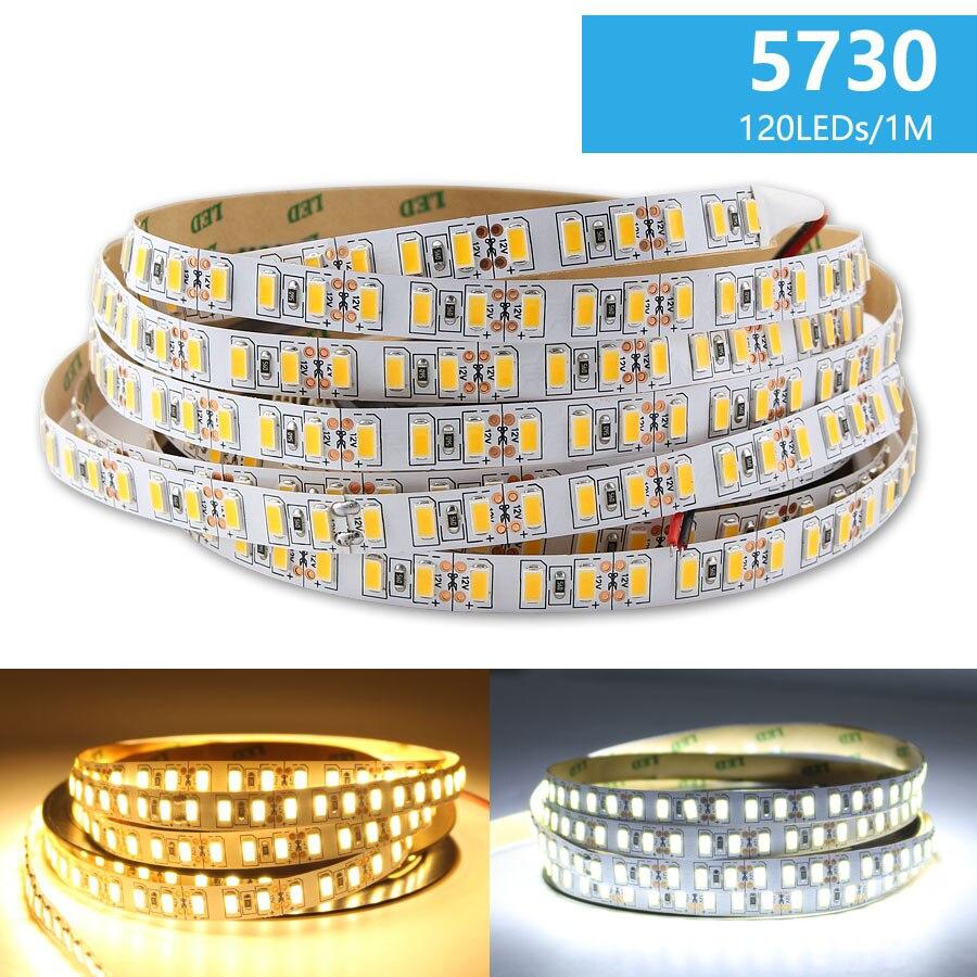 Tira de luz LED de 12V CC 5M SMD 5730 Flexible 120Led/M tira de luz LED blanca cálida cinta de la lámpara cinta no resistente al agua decoración de la habitación