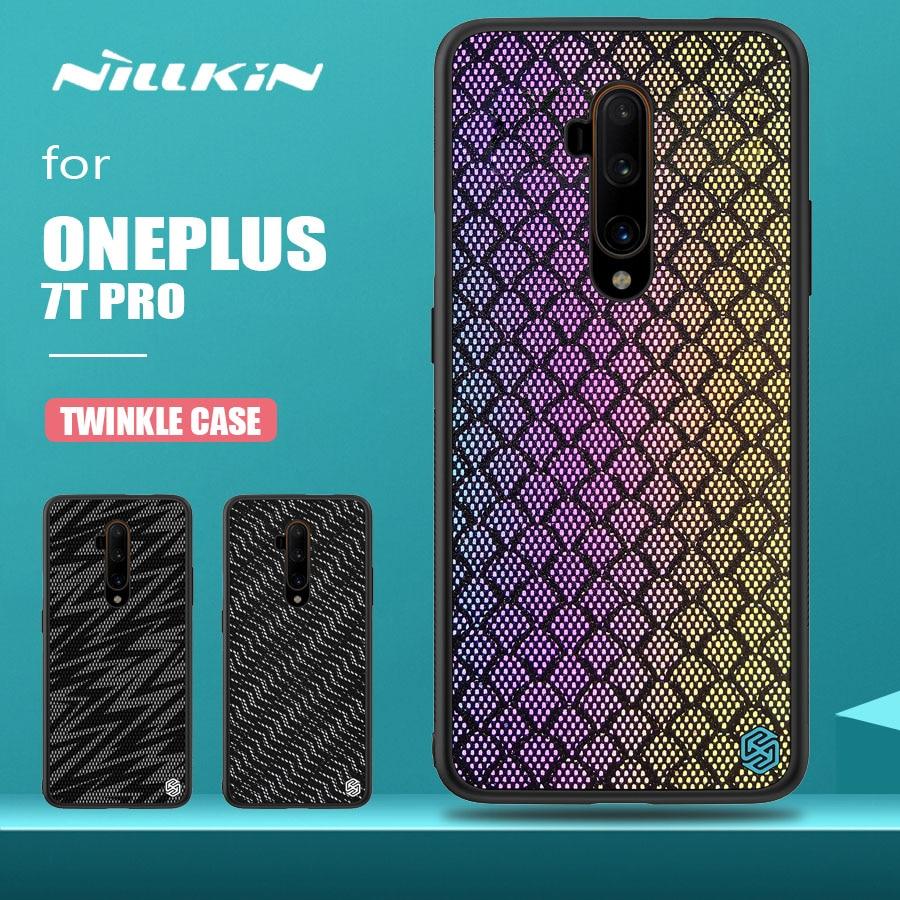 Para Oneplus 7T Pro funda Nillkin brillo brillante silicona marco suave textura rígida funda de teléfono para Oneplus 7T Pro carcasa trasera