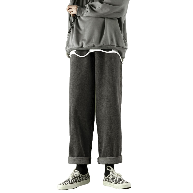 Autumn Winter Fashion Baggy Straight Jeans Black Casual Plus Size Men's Trousers Free Shipping