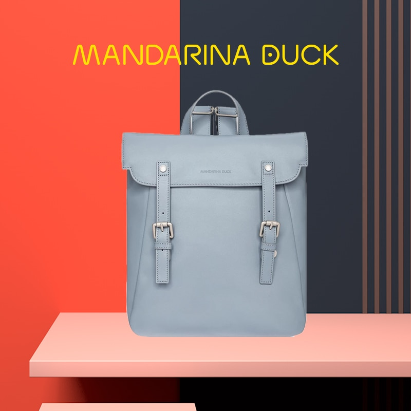 Mandarina duck designer de luxo postino lazer viagem estrela mesmo estilo mochila de couro feminino