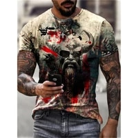 2021 new summer menswear slim fit viking myth print crew neck casual sports 3d t shirt