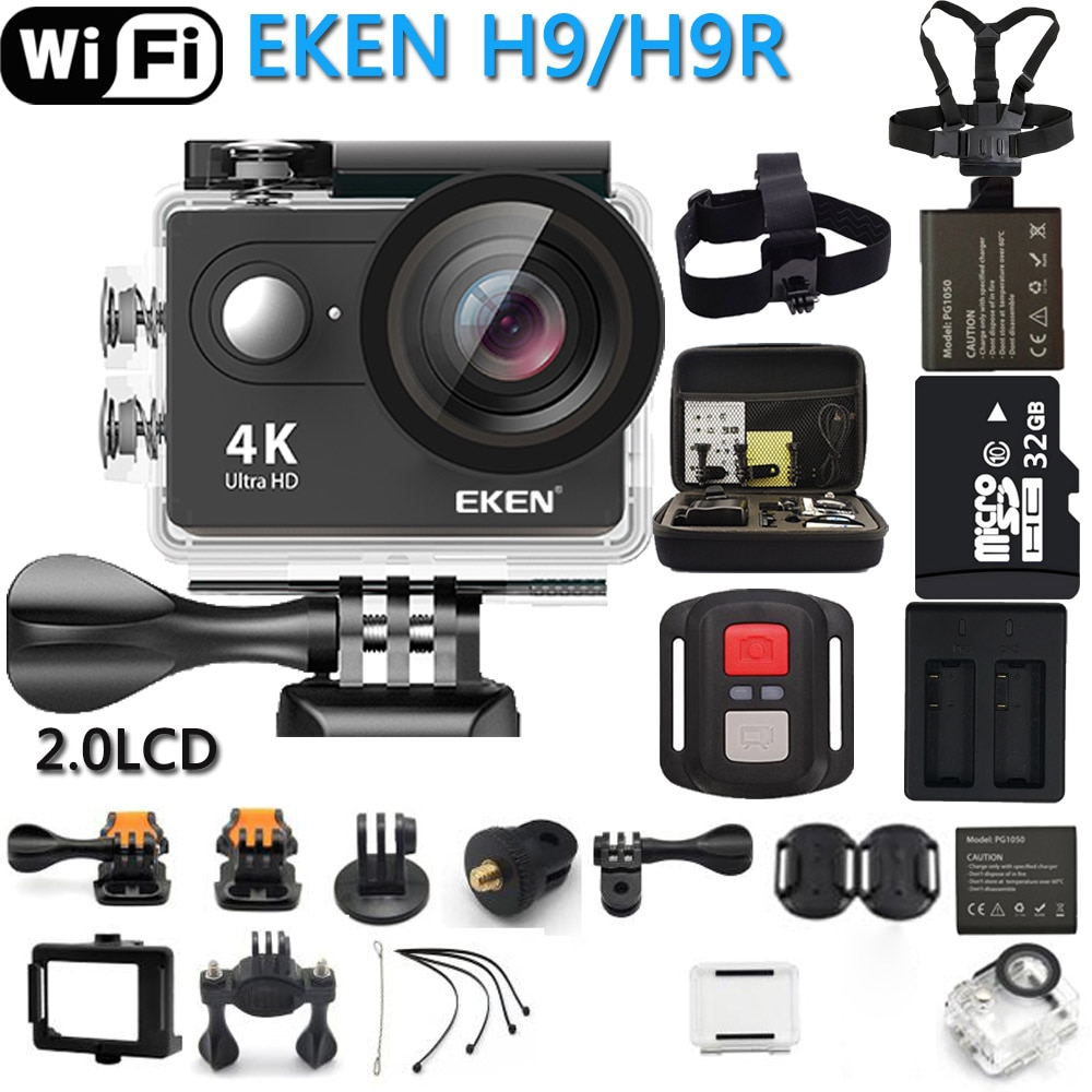 Оригинальная Экшн-камера EKEN eken H9R / H9 Ultra HD 4K WiFi дистанционное управление спортивная видеокамера DVR DV go Водонепроницаемая Pro профессиональная ...
