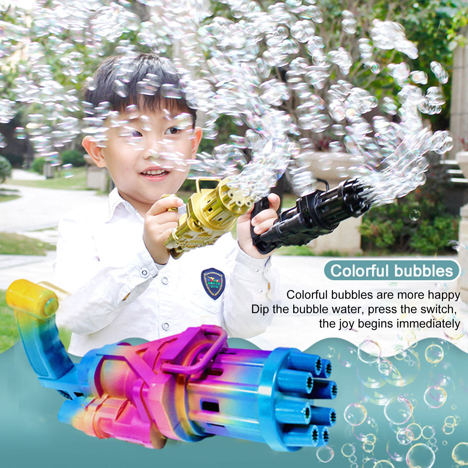 New Kids Gatling Bubble Gun Toys Summer Automatic Soap Water Bubble Machine For Children Toddlers Indoor Outdoor Wedding Bubble