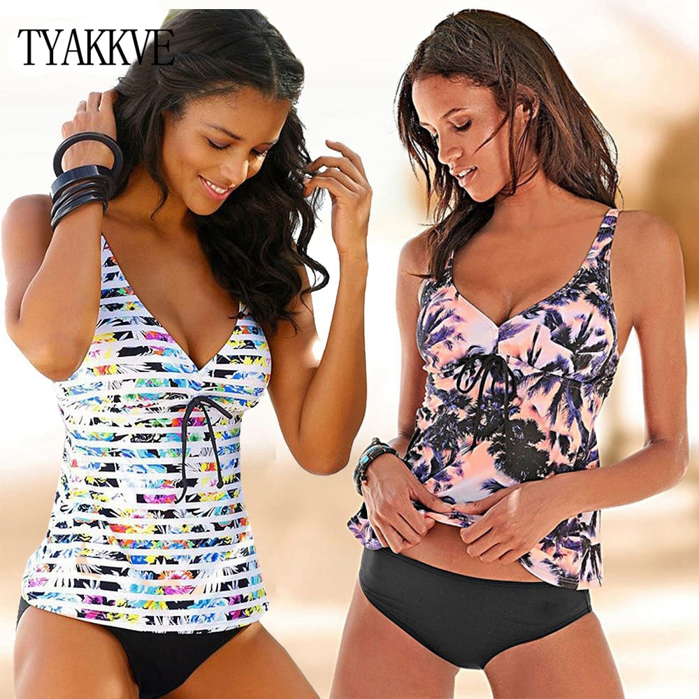 ¡Novedad de 2020! Traje de baño Tankini para mujer, conjunto de talla grande, dos piezas deportivas clásicas acolchadas, traje de baño de cintura alta, bañador Push Up, Bikini 3XL