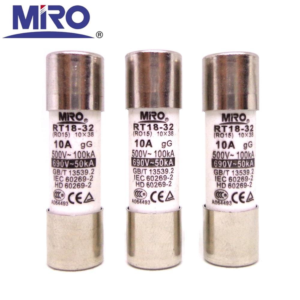 MRO RT18-32 500V 10mm x 38mm, rápido golpe rápido de fusibles RO15 1A/2A/3A/ 4A/5A/6A/8A/10A/16A/20A/25A/32A fusible