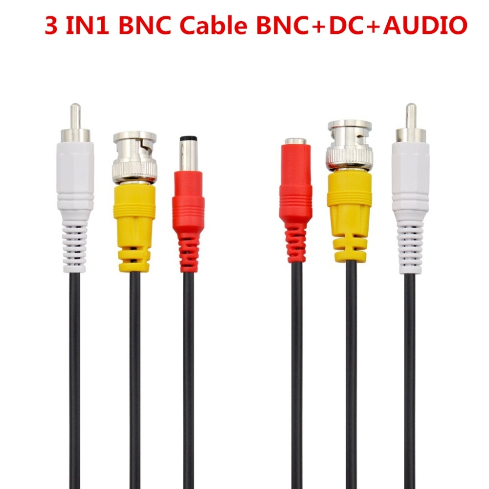 BNC + RCA + DC Connector 3 In 1 CCTV Cable Security Camera Video Audio Power BNC Cable For DVR Surveillance System enlarge