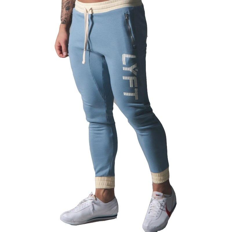 Штаны для бега, мужские спортивные штаны для бега, Осенние хлопковые облегающие тренировочные штаны, спортивные штаны для тренажерного зал...