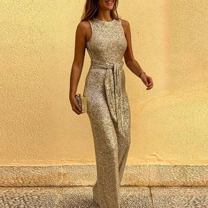 Women Fashion Jumpsuits Red Blue Sexy Girls Sequin Trousers Belted Slim Fit Skinny Rompers Sleeveless Glitter Bodysuits Playsuit