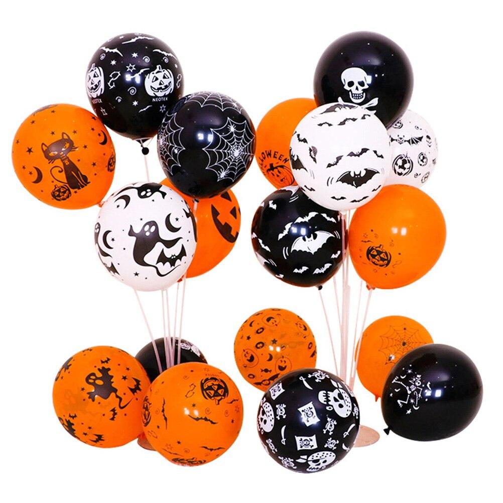 Set de globos de látex de 100 Uds. De 12 pulgadas para Halloween, terrorífico, calabaza, Calavera, globos, estampado de murciélago, decoración para fiestas de Halloween