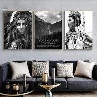 Affiches de citation puissante femme guerrier de mode  imprimes noirs et blancs  toile nordique  peintures murales dart  decor de maison