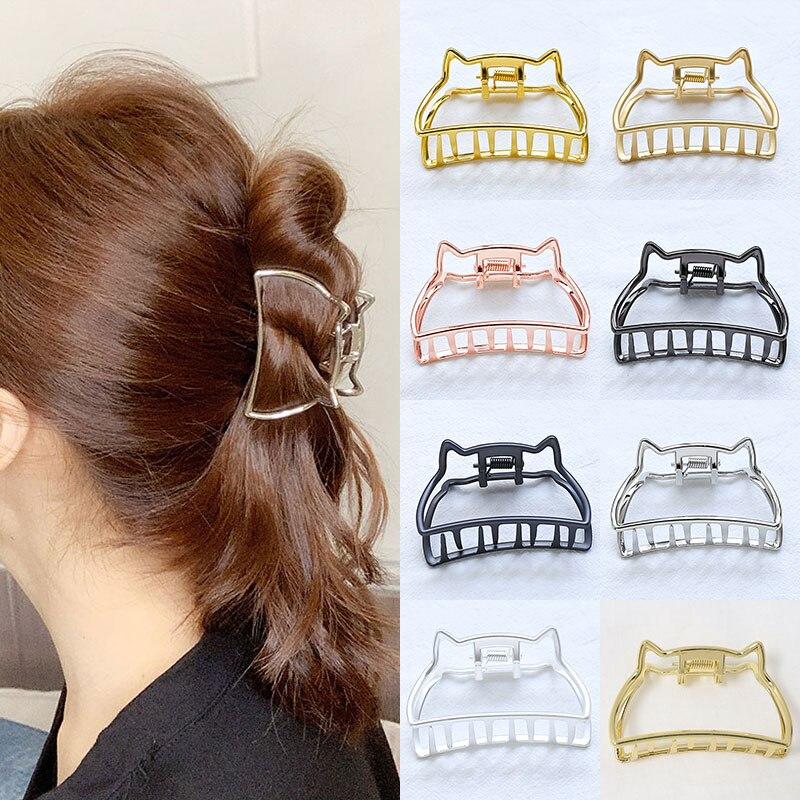 Abrazaderas de garra para el cabello geométricas para chicas, Clip de pelo de Metal con forma de orejas de gato, pinza para el pelo de Color sólido, horquilla de gran tamaño, accesorios para el cabello
