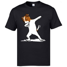 Dabbing Jack Russell Terrier köpek Hip Hop komik Tee gömlek artı boyutu Camisetas kaliteli kısa kollu marka Tops gömlek erkek
