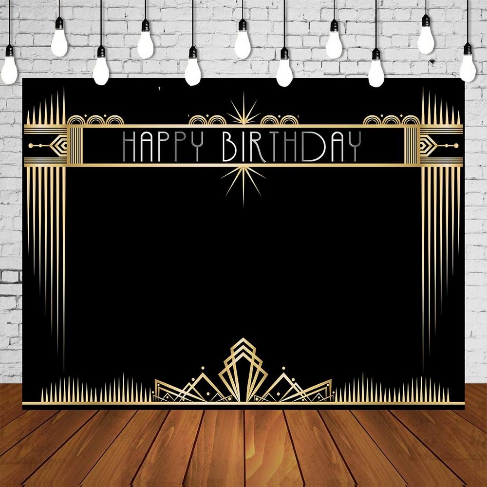 Niestandardowe urodziny dla dorosłych tło imprezowe czarny złoty wielki Banner Gatsby gustowne tło fotograficzne ze ścianą seter dekoracja plakatu
