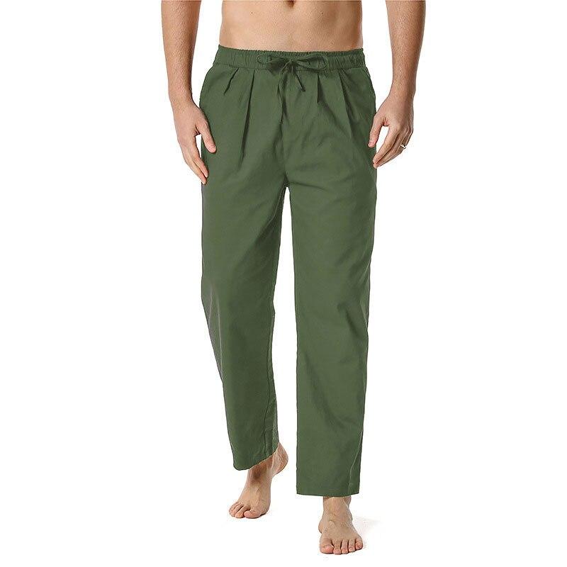 Брюки мужские прямые из хлопка и льна, свободные повседневные штаны с эластичным поясом, уютные штаны для дома