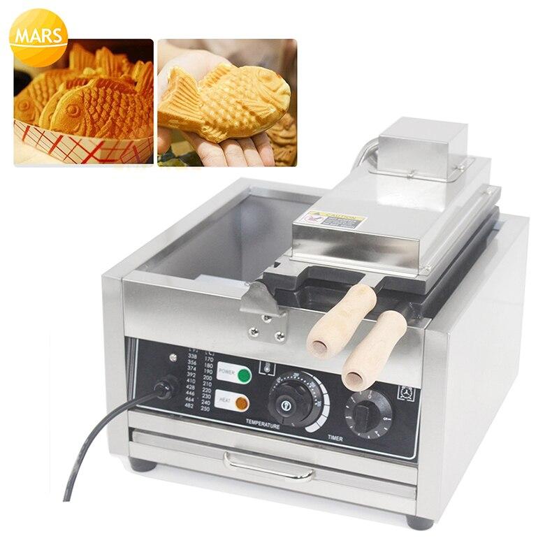 Máquina de tortas de pescado de 110V y 220V, máquina Waffle comercial eléctrica en forma de pez Taiyaki, molde antiadherente PARA PEZ Taiyaki, equipo para aperitivos