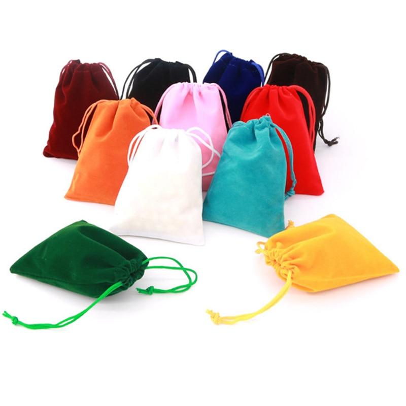 100 unids/lote 5x7 7x9 8x10 10x12 cm de terciopelo con cordón bolsa con bolsa de joyería regalo de boda de Navidad bolsos de terciopelo rojo 77