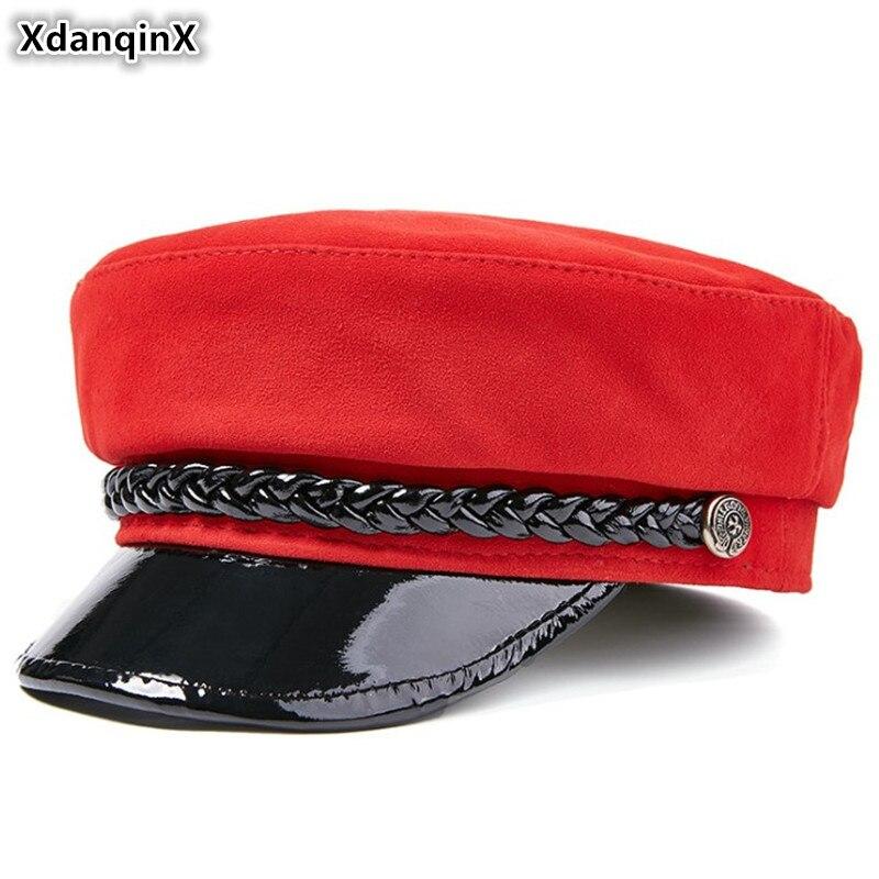 XdanqinX-قبعة مسطحة من جلد الغنم للنساء ، قبعة عسكرية أنيقة من الجلد الطبيعي للنساء