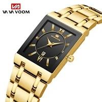 men watch non automatic mechanical square mens steel band watch business calendar quartz waterproof watch