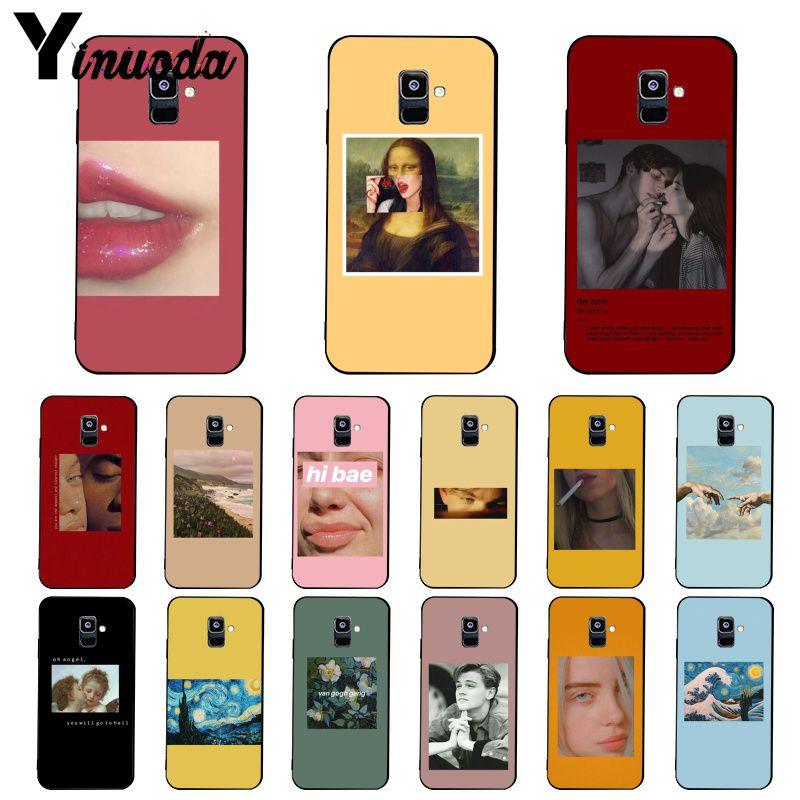 Yinuoda Grand art esthétique van Gogh Mona Lisa Ange Téléphone étui pour samsung Galaxy A7 A50 A70 A40 A20 A30 A8 A6 A8 Plus A9 2018