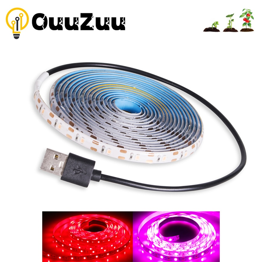 3m led grow light strip full spectrum uv lamps for plants waterproof phyto tape with adapter and switch for greenhouse grow tent OuuZuu Phyto 5V USB LED Grow Strip Light Full Spectrum 1M 2M 3M 2835SMD for Plants Waterproof Led Tape for Greenhouse Grow Tent