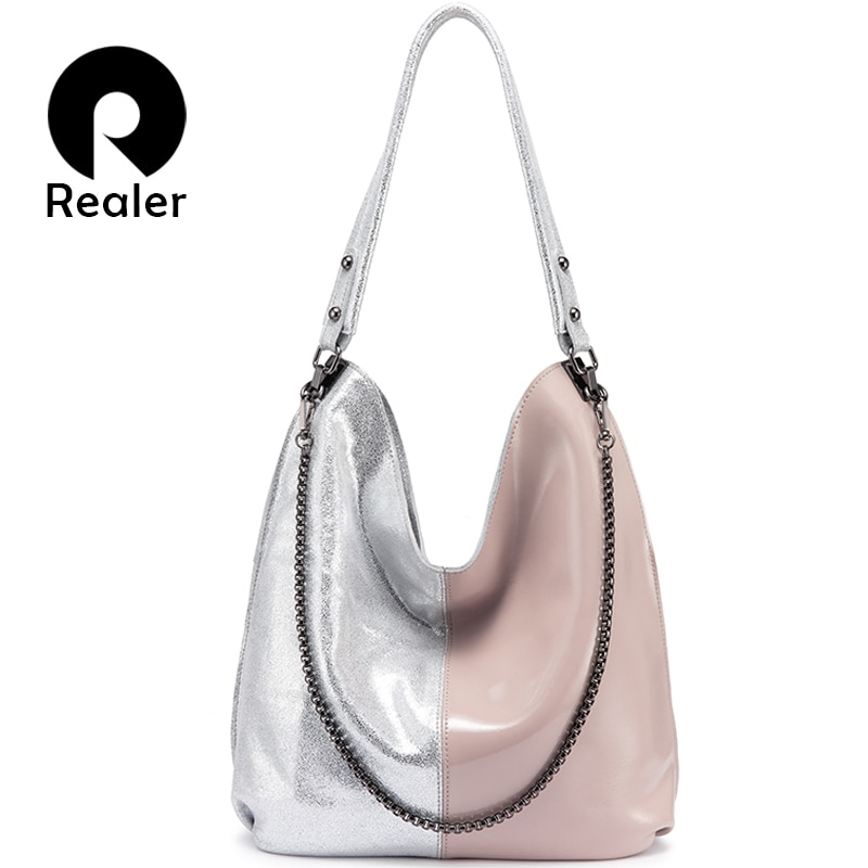 REALER women shoulder bag genuine leather Hobo bag for ladies 2020 Patchwork Totes female luxury handbags women bags designer