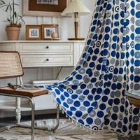 curtain blue dot printing bay window living room bedroom kitchen luxury home decoration room