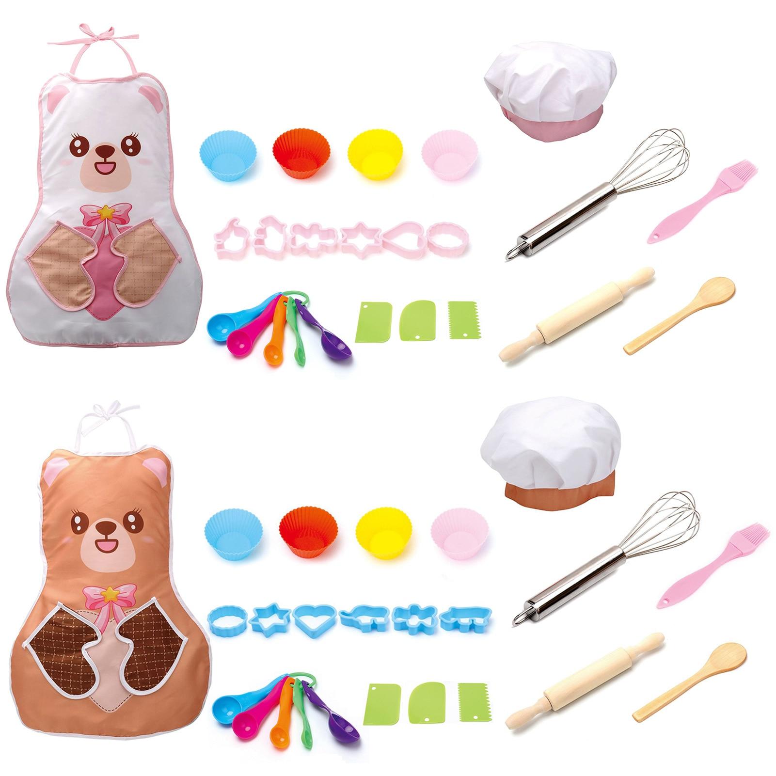 Play House Kitchen Toys Cooking Utensils Childrens Set Baking Tools Cartoon Bear Apron DIY