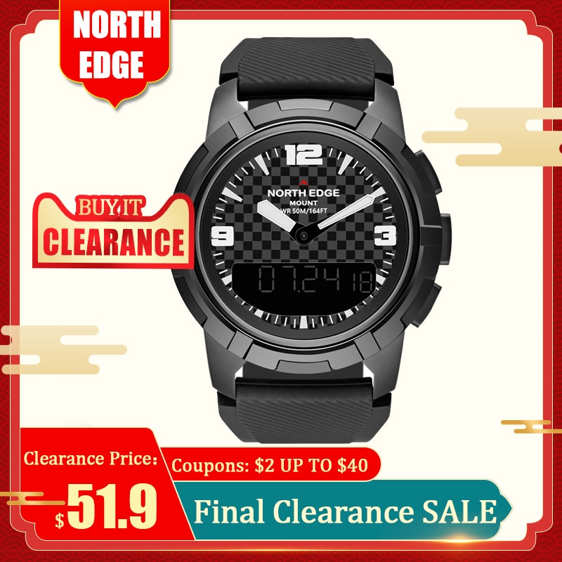 Relojes deportivos para hombre con pantalla Dual, Digital, LED, electrónico, relojes de pulsera de cuarzo, impermeable, altímetro, brújula barómetro de 50M