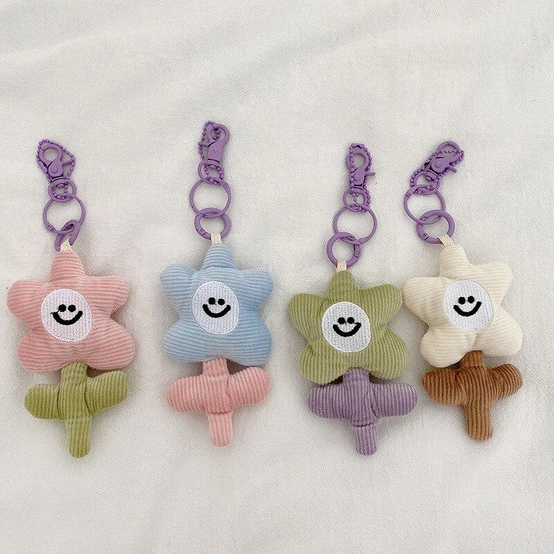 Kawaii Contrast Color Flowers Shape Keychains Plush Candy Color Key Wallet Bag Cellphone Pendant Key