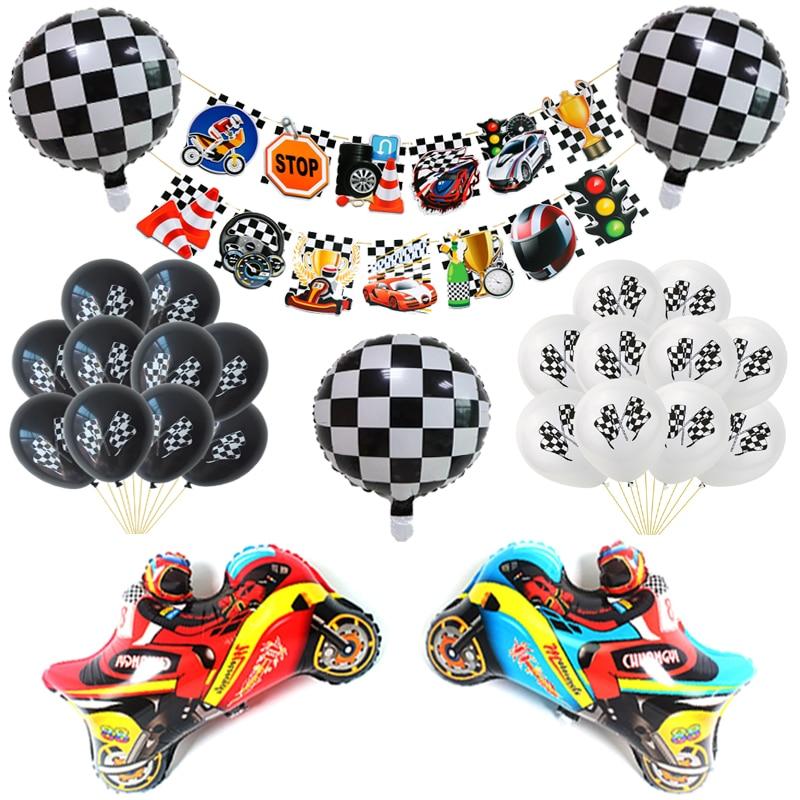 Neue 1Set Racing Flagge Luftballons Schwarz Weiß Checkered Rennen Auto Banner Thema Geburtstag Party Dekoration Motorrad Ballons Kinder Spielzeug