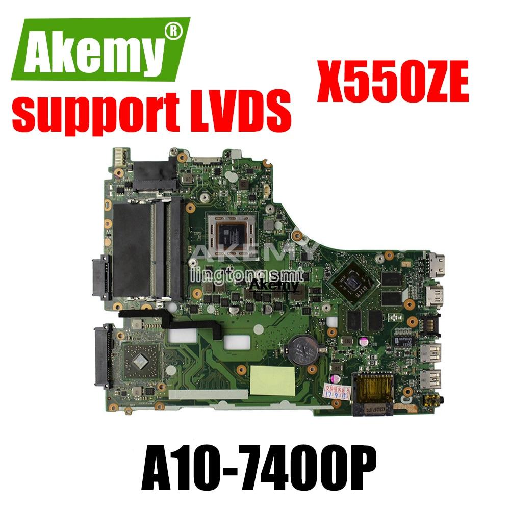 X550ZE placa base A10-7400CPU apoyo LVDS placa madre para For For For For Asus X550ZE X550ZA K550Z A555Z VM590Z placa base de computadora portátil de trabajo