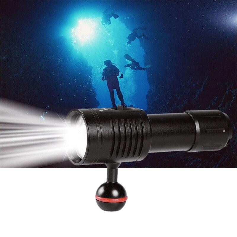 1Set LED Diving Flashlight Scuba Video Photography Waterproof Light Torch Dive Underwater Lamp For 18650/ 26650 Battery waterproof 14led portable diving light torch underwater led photography video dive flashlight lamp