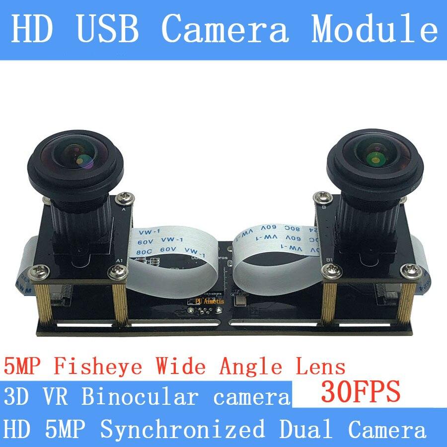 HD 1080P فيش واسعة الزاوية مرنة تزامن ستيريو كاميرا عدسة مزدوجة 30FPS USB كاميرا وحدة 3D الفيديو VR الواقع الافتراضي